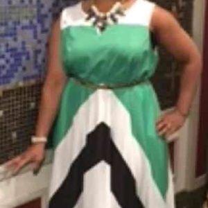 Dresses & Skirts - Chevron Striped Color-Block Maxis
