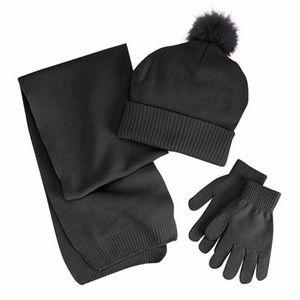 Girls 4-16 Berkshire 3pc Solid Scarf, Hat & Gloves