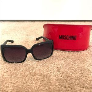 Moschino black rectangle crystal sunglasses