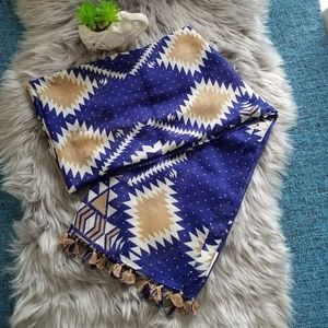 Accessories - BLue/ Beige/ White Tribal Print Scarf With Tassels