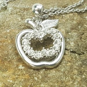 Jewelry - Apple Silver-toned and Rhinestone Necklace
