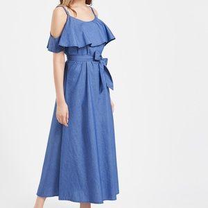 NWT Open Shoulder Maxi Dress with Belt