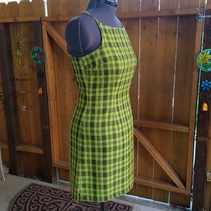 No Boundaries - Green Plaid Dress