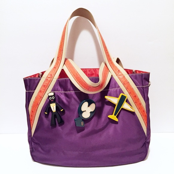 57cfcbd66262 ... new arrivals authentic prada purple nylon orange ostrich tote 46a2b  abdbf