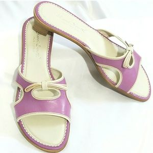Shoes - Lilac & Cream Italian Leather Sandals