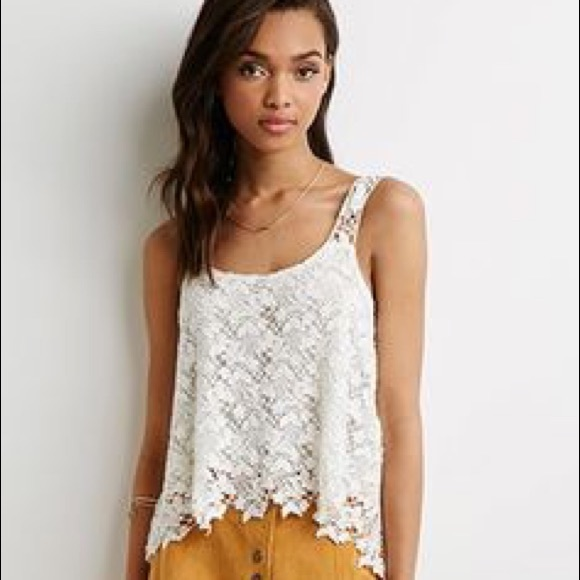 Forever 21 Tops New Forever21 White Floral Lace Crochet Top Poshmark