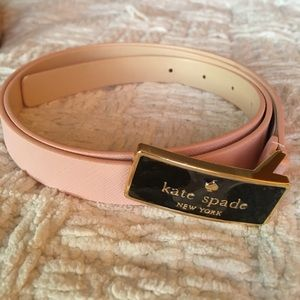 Kate Spade Pink/Nude Leather Belt w/Black Buckle