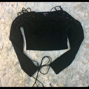 Fashion Nova Lace Up Sleeve Crop Top Medium