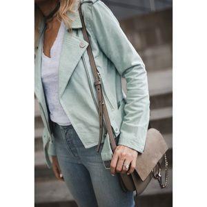 BlankNYC Mint Green Suede Moto Jacket
