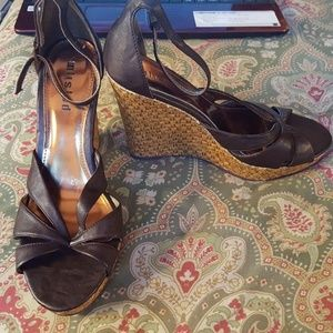 Unlisted 8 brown wedge sandals heels shoes