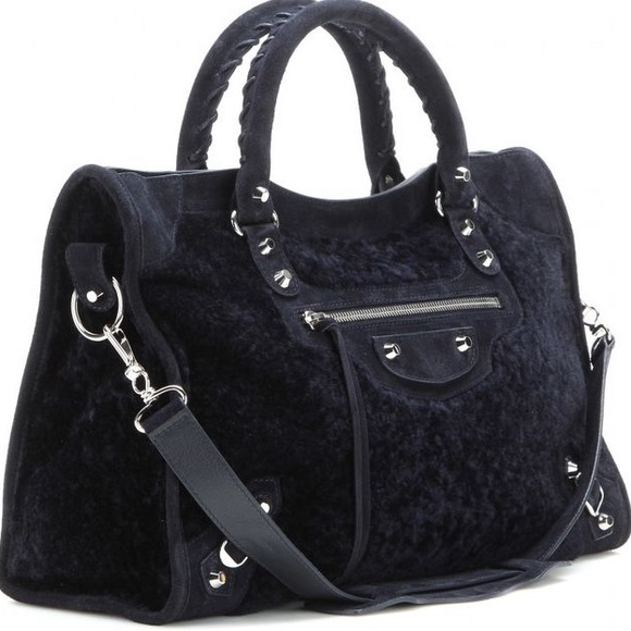 Balenciaga Handbags - Balenciaga Classic City Black Shearling Tote Bag dedae85fd5048