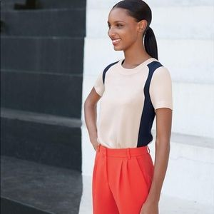 J. Crew crepe Colorblock blouse with zipper back