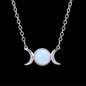 Opalite Moonstone Moon Necklace Witch style NEW