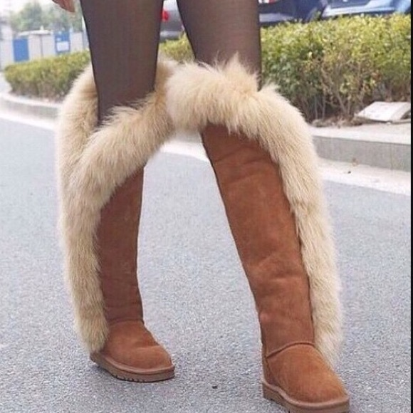 b3648e3dd17 Koolaburra Sasha Knee-High Real Fox Fur Boot Sz 7