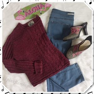 Sweaters - Curio Red Cable Knit Chunky Silk Blend Sweater