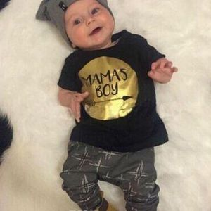 NWT Mama Boy Baby Toddler Outfit Shirt Pants Gold