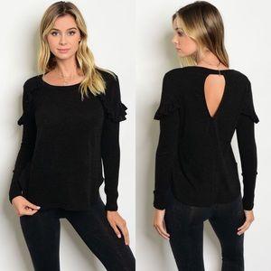 Tops - NEW Black Long Sleeves Ruffle Top w/ Keyhole Back