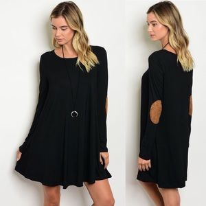Dresses & Skirts - NWT Black Dress with Tan Elbow Patches & Pockets