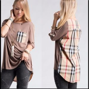 💕Plaid Contrast Back Hi-Lo Tunic 💕