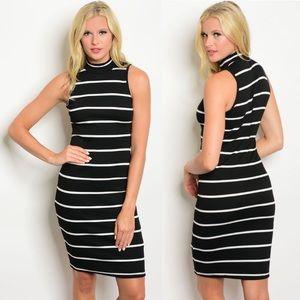 Dresses & Skirts - High Neckline Black Ivory Striped Sleeveless Dress