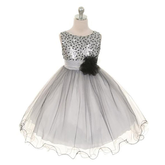 cb292d00a6d SILVER Sequin Bodice Triple Layered Tulle Girl Dre