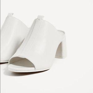 Zara white block heel mules