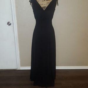 V-neck black maxi dress