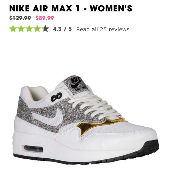 cheap for discount ff699 80fc2 Nike Air Max 1 white with speckled   gold