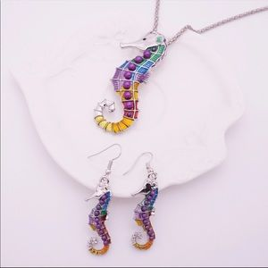Colorful seahorse necklace & earrings set