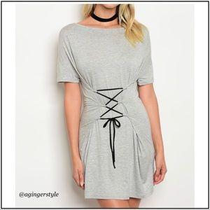 Dresses & Skirts - 🔥⬇️Price Drop! Lace Up Corset T-Shirt Dress/Tunic