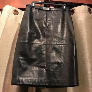 Ellen Tracy black leather skirt NWT