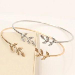🛍 Laurel Leaf Skinny Bangle Bracelet Cuff Dainty
