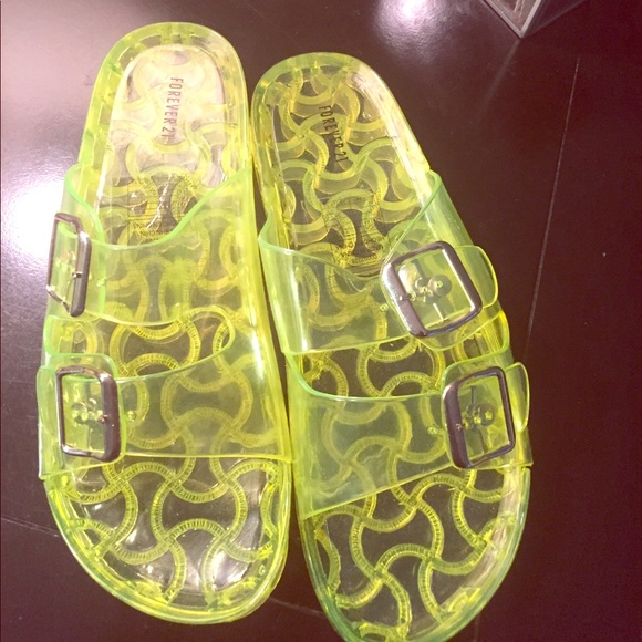 a15e31bd0841 Forever 21 Shoes - Neon Jelly slides