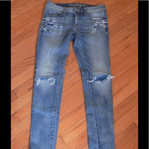 American Eagle Distressed Jean Jeggings Sz 4