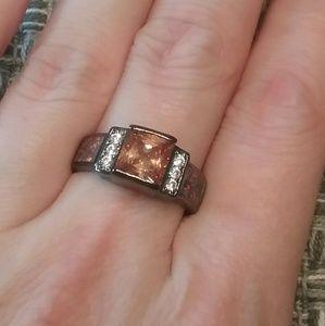 Jewelry - Orange garnet red fire Opal size 7 ring marked 925