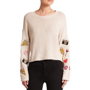 Wildfox Emoji dinner party Jeweled sweater