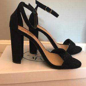 Shoes - WORN ONCE black velvet heels