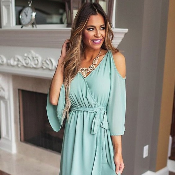1018e4db44aa Dottie Couture Boutique Dresses & Skirts - DCB Mint Chiffon Open Shoulder  Dress