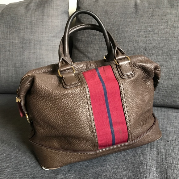 b1818ccc1f69 Tommy Hilfiger Brown Pebble Leather Bowler Bag