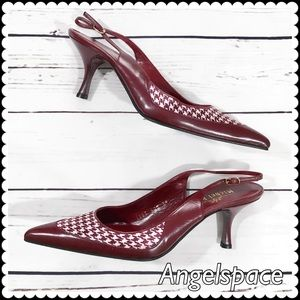 Michel Perry dk red sling back heel very chic