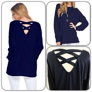 Tops - Criss Cross Back Soft Relaxed Navy Tunic Top SMLXL