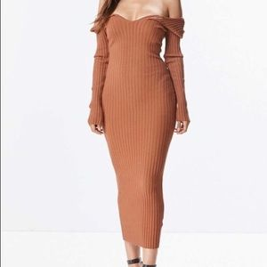 Off The Shoulder Ribbed Dress Rust not Tan