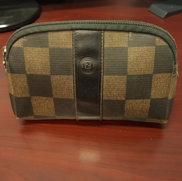 470c7cf9072 Fendi Handbags - AUTHENTIC FENDI cosmetic bag brown checkered