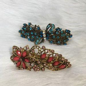 Accessories - Floral Rhinestone Hair Clips
