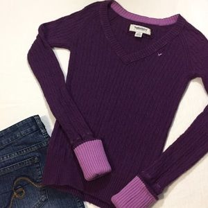 American eagle outfitters cable v neck sweater