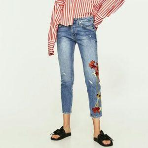 Zara Slim Boyfriend Jeans with Embroidery
