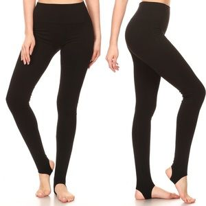 Pants - Black High Waisted Leggings Stirrup Strap Boots