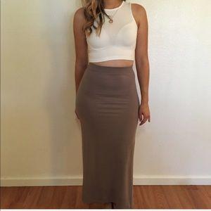 •RESTOCKED• Taupe Maxi Skirt
