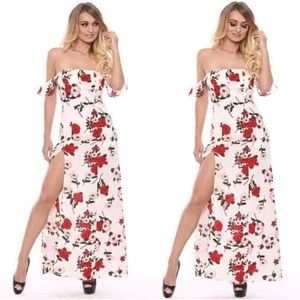 Dresses & Skirts - Off shoulder maxi slit romper dress