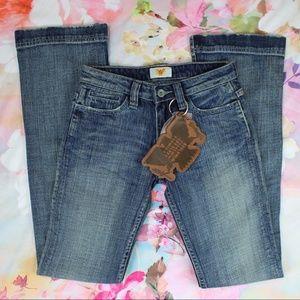 NWT Antik Denim Jeans Distressed Bootcut 24x33
